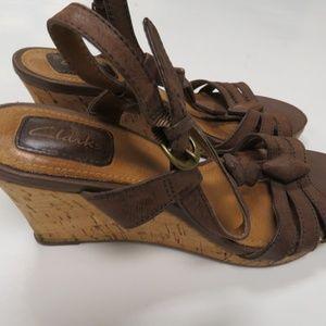 Clarks Brown Cork Wedge High Heel Sandals 6.5